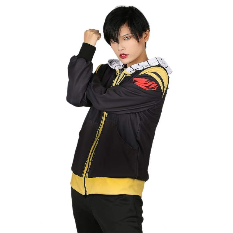 xcoser-de,Xcoser Fairy Tail Hoodie Cosplay Costume Color Matching Zip-Up Hooded Sweatshirt With Front Pockets,Hoodies