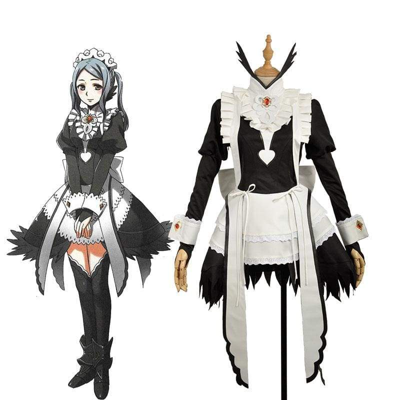 xcoser-de,Xcoser Fire Emblem Fates Flora Maid Uniform Cosplay Costume,