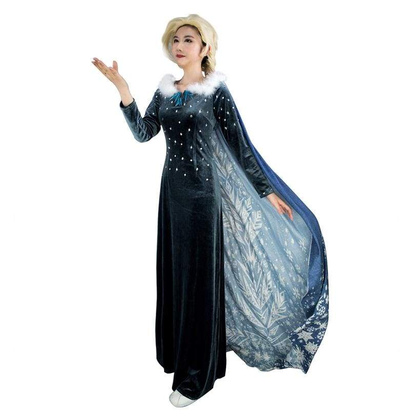 xcoser-de,XCOSER Frozen 2 Elsa Cosplay Blue Costume With Cloak,