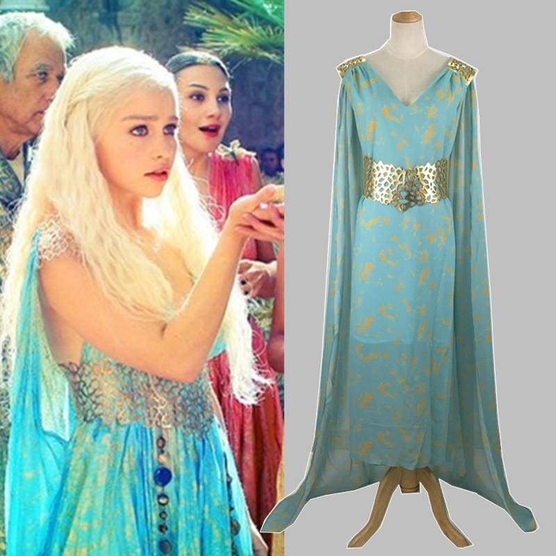 xcoser-de,Xcoser Game of Thrones Daenerys Targaryen Cosplay Light Blue Dress,Costumes