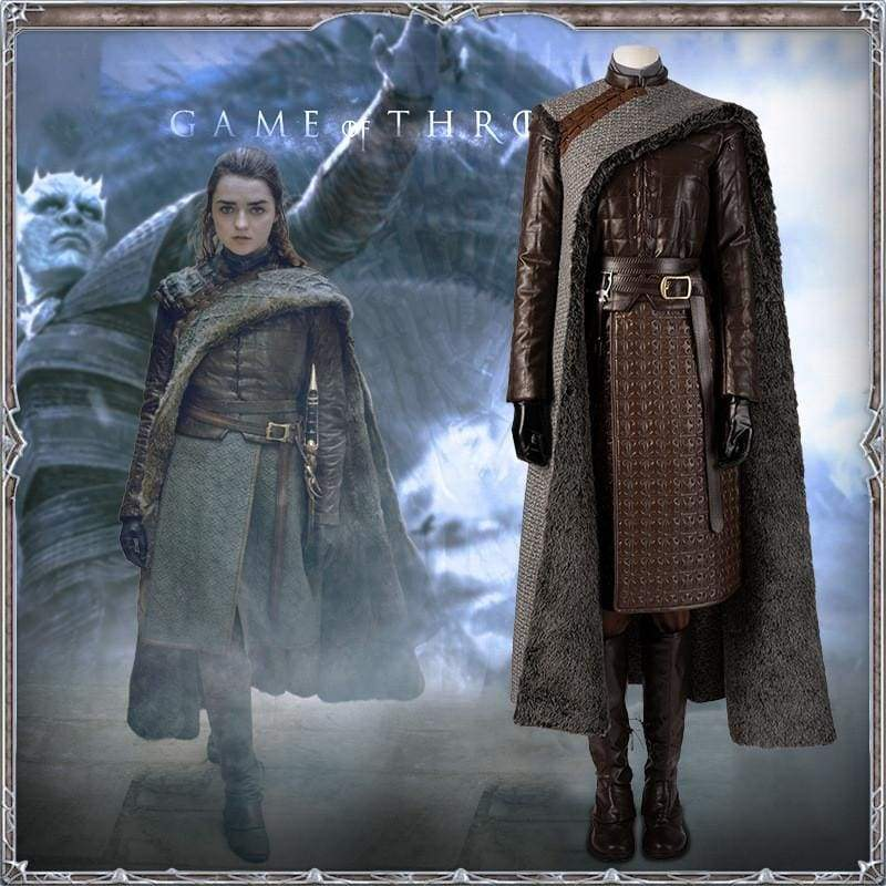 xcoser-de,Xcoser Game of Thrones Season 8 Aria Stark Cosplay Costume,Costumes