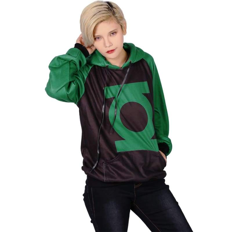 xcoser-de,Xcoser Green Lantern Logo Pullover Sweater Unisex Hoodie Cosplay Costume in Spring and Autumn,Hoodies