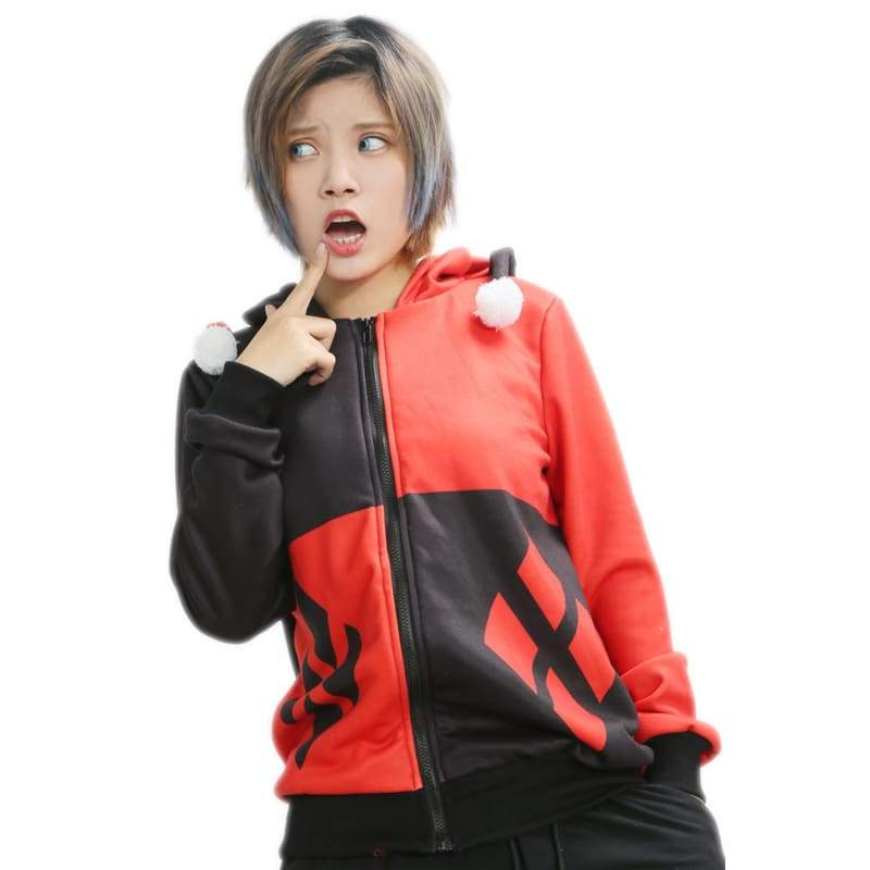xcoser-de,Xcoser Harley Quinn Hoodie New Fashion DC Comics Harley Quinn Red & Black Zip Up Hoodie Coat,Hoodies