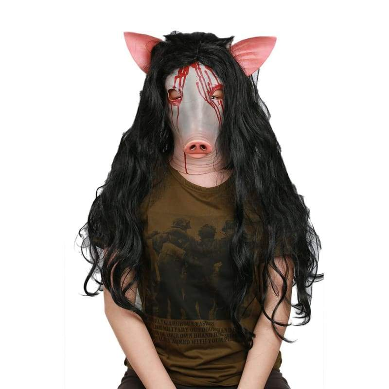 xcoser-de,XCOSER Jigsaw Horrible Cosplay Killer Pig Head Shaped Helmet & Wig Halloween Mask,Mask