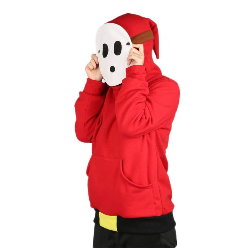 xcoser-de,Xcoser Mario Series Shy Guy Hoodie Women's Hooded Sweatshirt Cosplay Costume with Mask Design Sales 2018,Hoodies