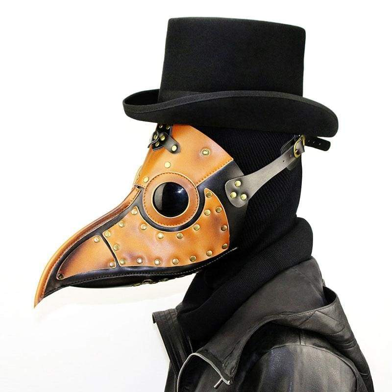 Xcoser Medieval Steampunk Plague Doctor Mask Brown PU Leather Cosplay Mask