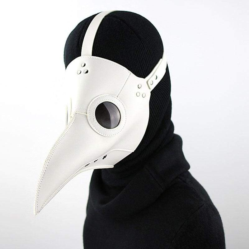 Xcoser Medieval Steampunk Plague Doctor Mask White PU leather Cosplay Mask