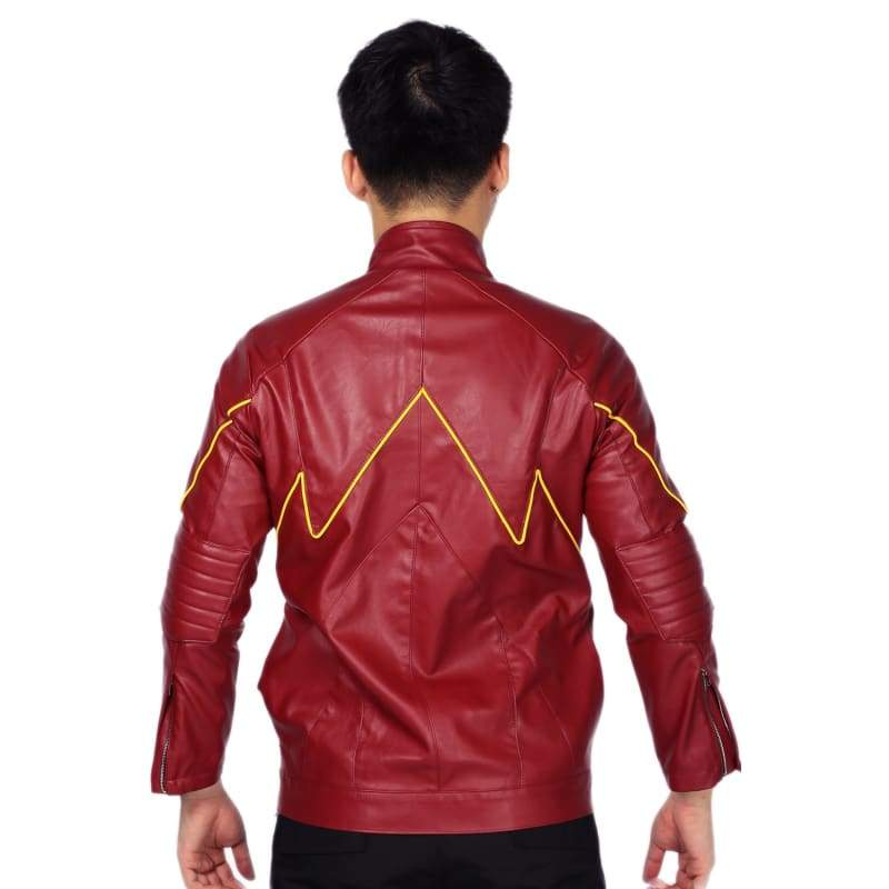 xcoser-de,Xcoser New The Flash Classic Red Zipper PU Jacket The Flash Cosplay Costume,Jackets