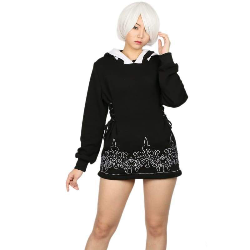 xcoser-de,Xcoser NieR: Automata 2B Black Cotton Hoodie Cosplay Costume(Only For the United States),Hoodies
