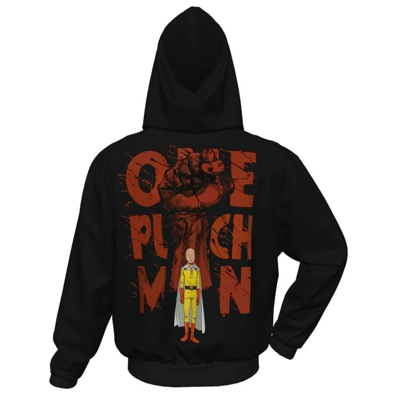xcoser-de,XCOSER One-Punch Man Hoodie Zipper Hooded Coat Black and  Red,Hoodies