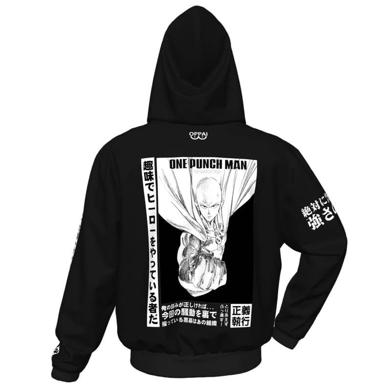 xcoser-de,XCOSER One-Punch Man Hoodie Zipper Hooded Coat Black and White,Hoodies