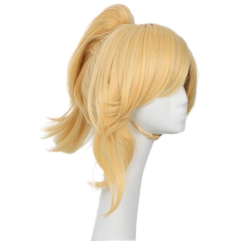 xcoser-de,Xcoser Overwatch Mercy Wig Blonde Straight Ponytail Hair for Cosplay and Halloween Party,Wigs