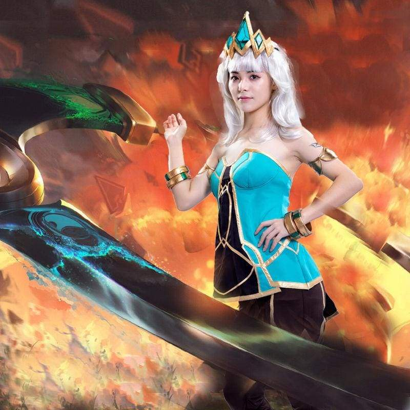 xcoser-de,Xcoser Qiyana S9 League of Legends Game Cosplay Costume Halloween Outfit for Women,Costumes,Xcoser