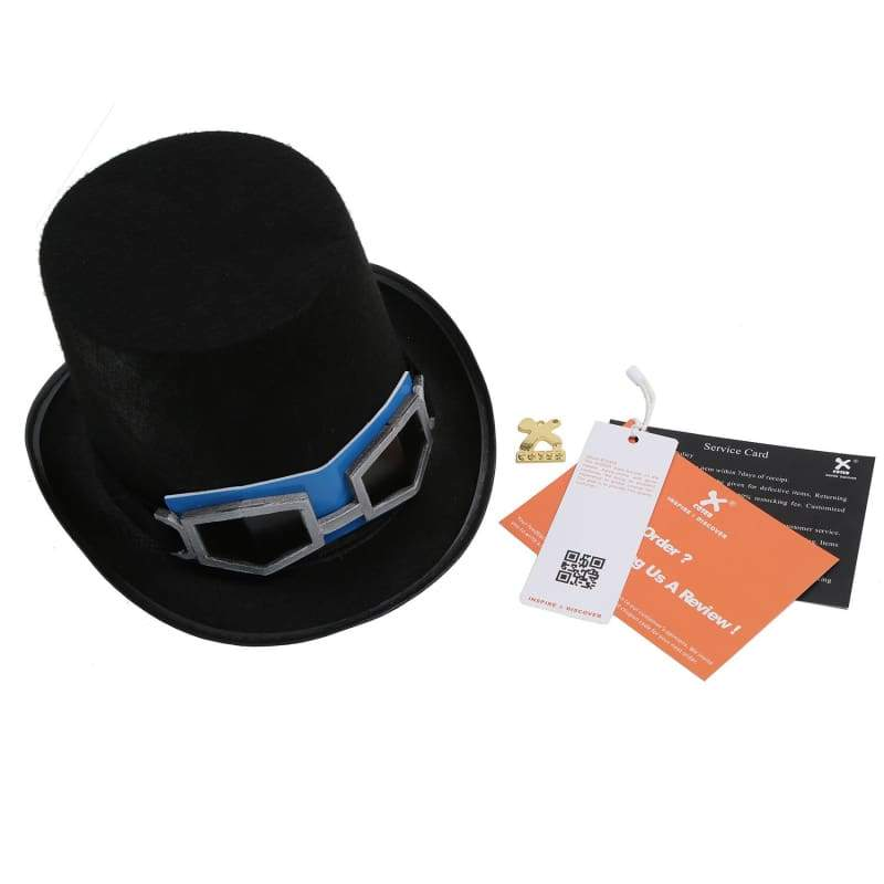 xcoser-de,Xcoser Sabo Hat One Piece Sabo Black Cap With Glasses Cosplay Props For Adult,Hats