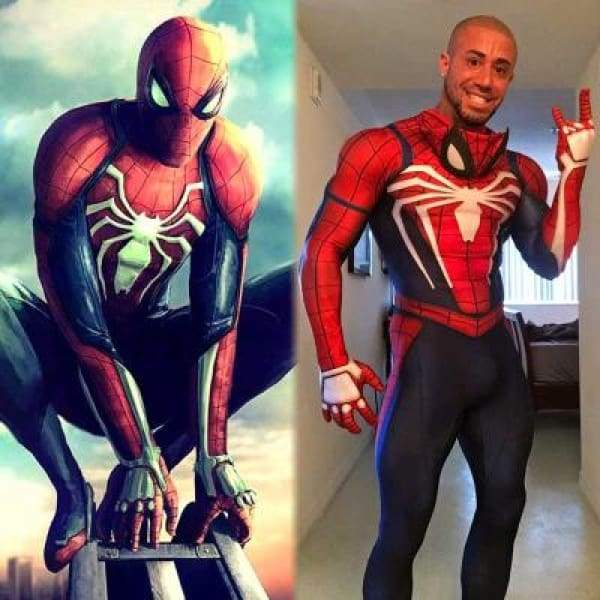 xcoser-de,Xcoser Spiderman PS4 Video Game Cosplay Jumpsuit,Costumes