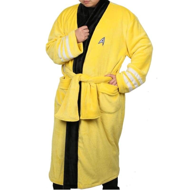 xcoser-de,Xcoser Star Trek Bathrobe Warm Yellow Fleece Robe Movie Cosplay Costume,Costumes