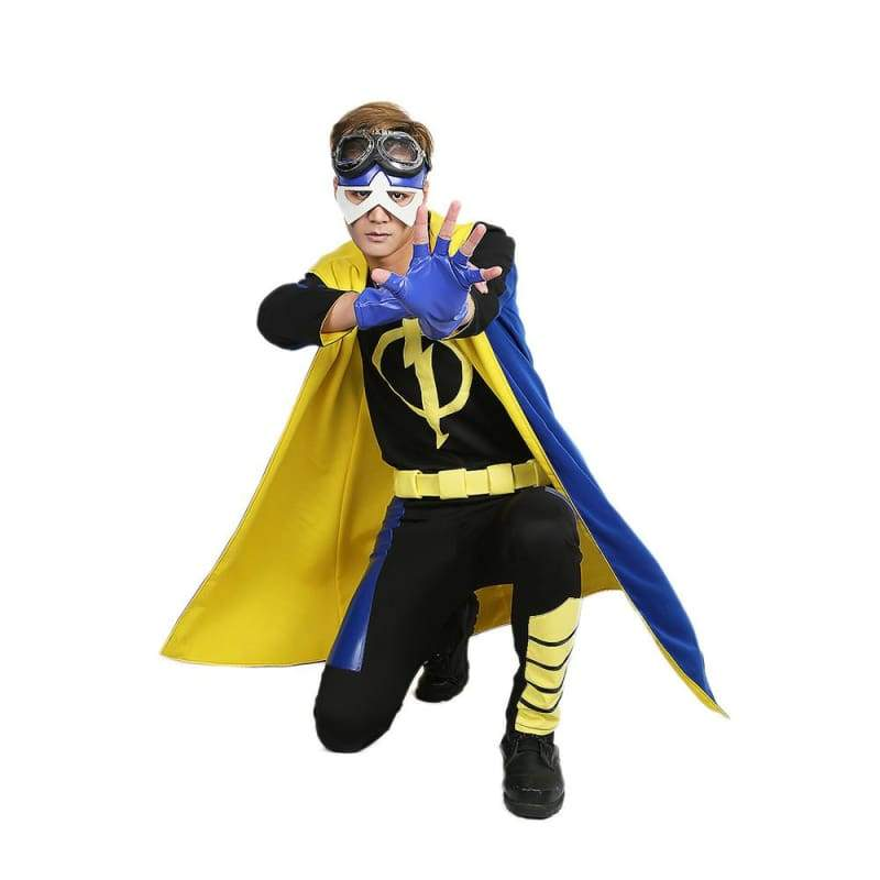 xcoser-de,Xcoser Static Shock Costume Deluxe Full Set Coat Shirt Belt Cosplay Outfits,Costumes