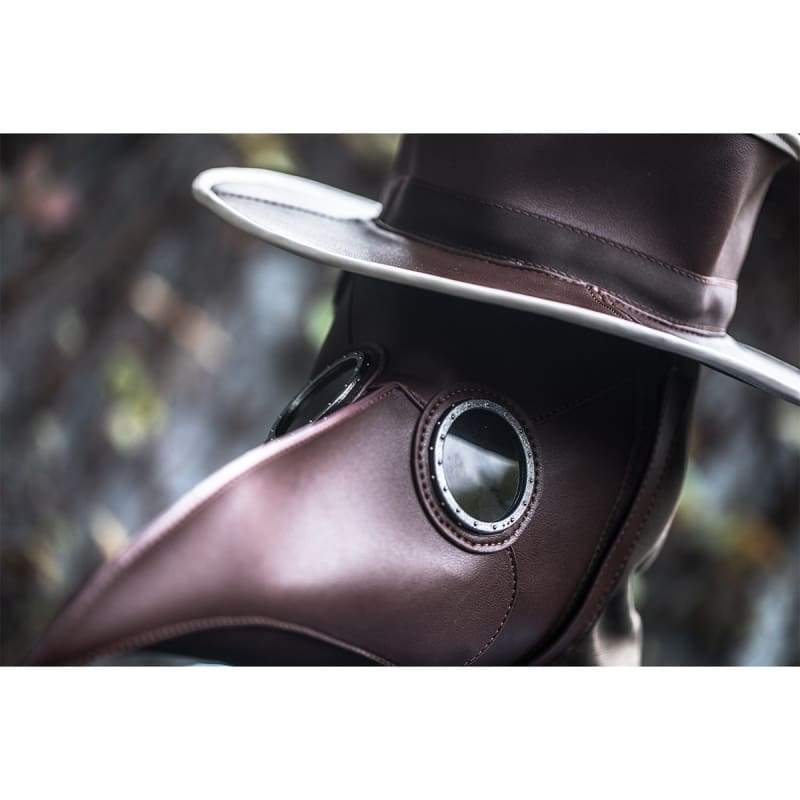 xcoser-de,XCOSER Steampunk Plague Doctor Mask and Hat PU Cosplay Accessory,Mask