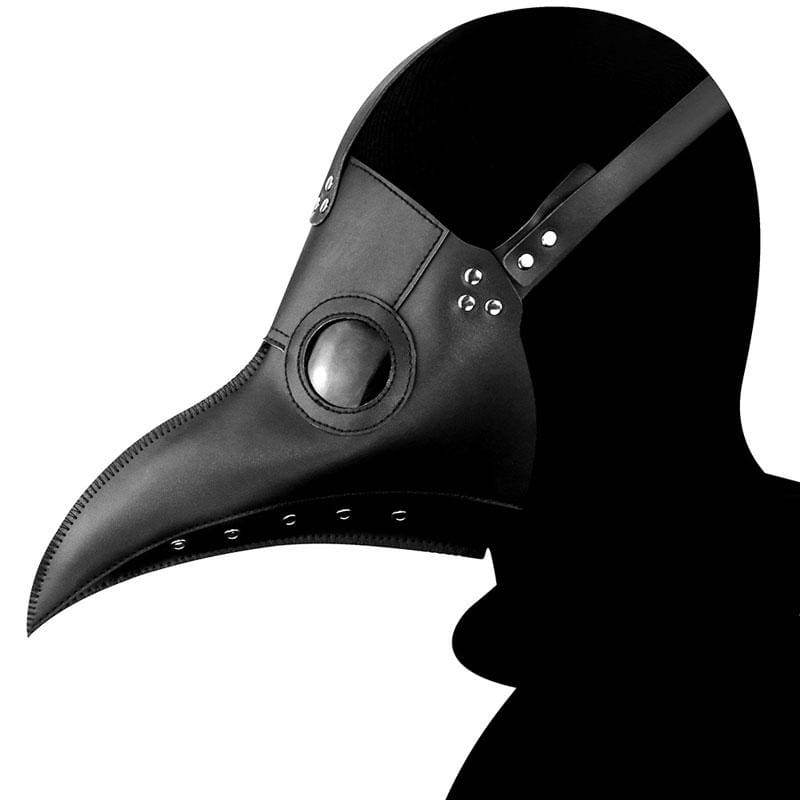 Xcoser Steampunk Plague Doctor Mask Black PU Leather Black Death Doctor Cosplay Mask
