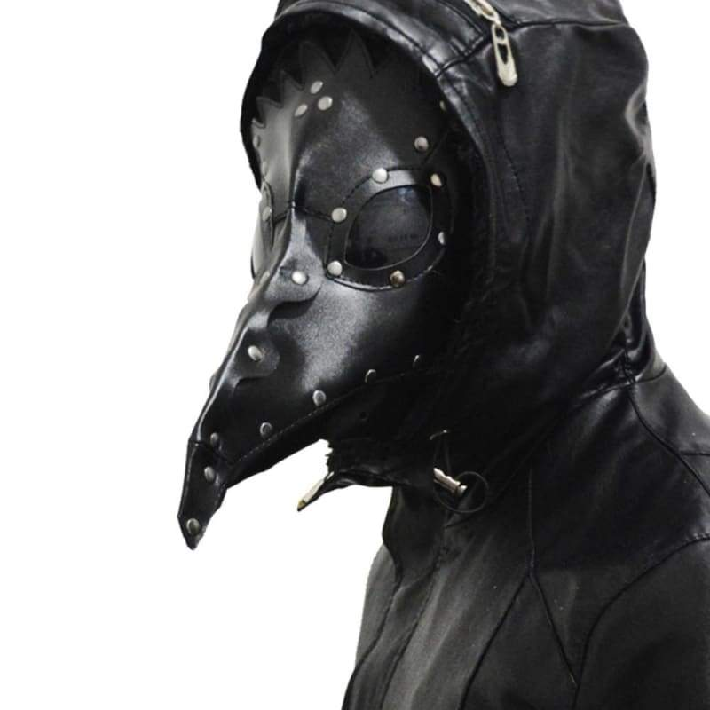Xcoser Steampunk Plague Doctor Mask Black PU Leather Halloween Masquerade Masks