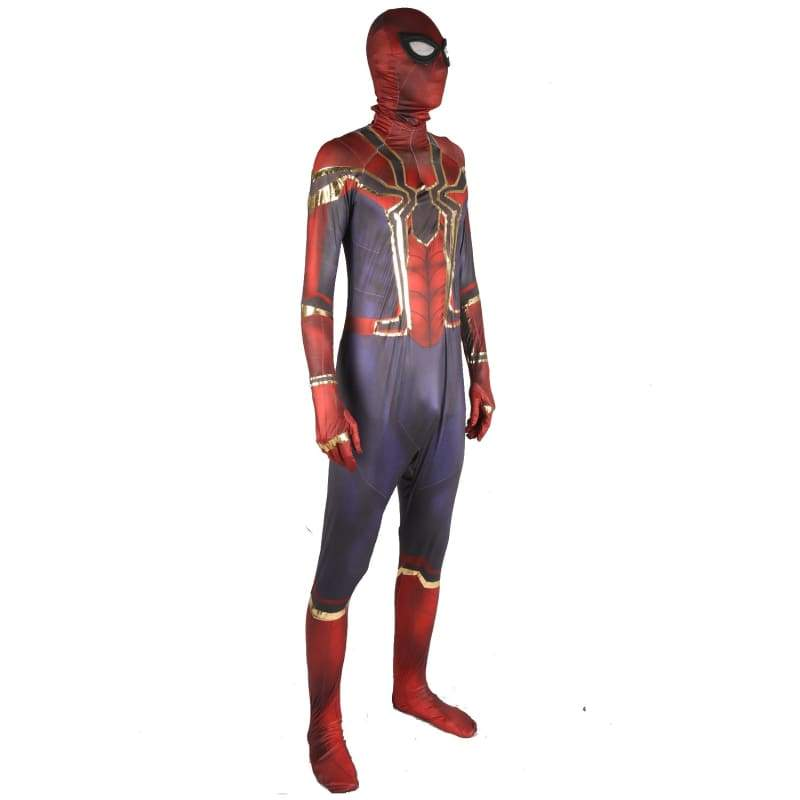 xcoser-de,Xcoser The Amazing Spider-man 2 Movie Cosplay Spider-man Metallic Zentail with Headhood Costume,Costumes