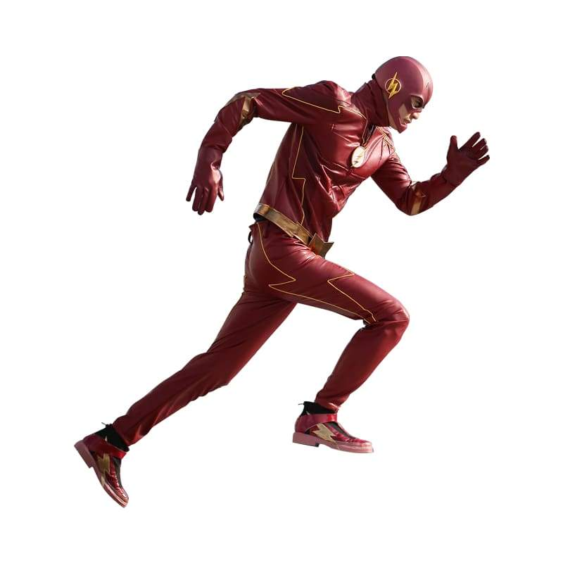 xcoser-de,Xcoser The Flash season 4 Red PU Barry Allen Costume For Adult Halloween Cosplay(Only For the United States),Costumes
