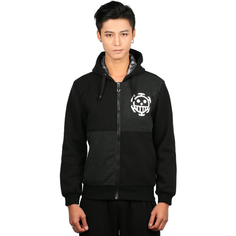 Xcoser Trafalgar Law Hoodie One Piece Law Cosplay Unisex Anime Costume Zip Up Hoodie Coat Adult