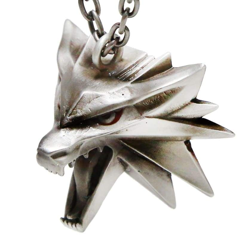 xcoser-de,Xcoser Wolf Necklace Updated Version The Witcher 3 Wild Hunt Wolf Head Necklace Silver Tin Pendant With Gift Box,Jewelry
