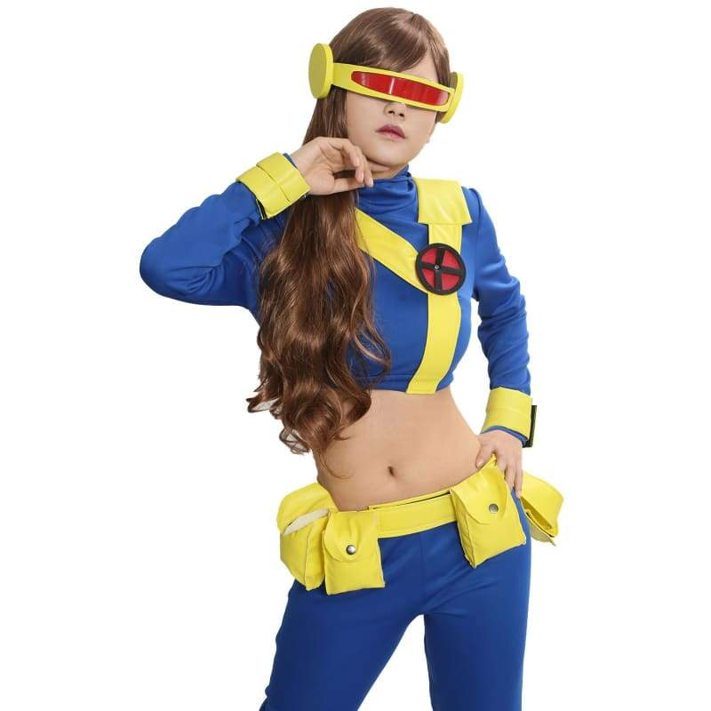 xcoser-de,Xcoser X-Men Cyclops Outfits Blue Spandex Cosplay Costume,Costumes