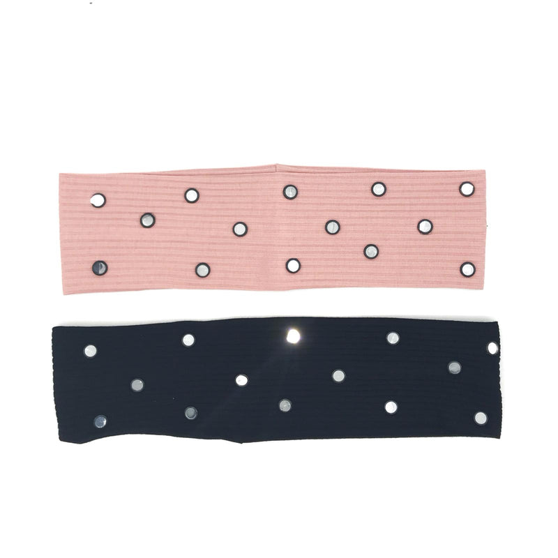 Thin Mirrored Stud Ribbed Headband