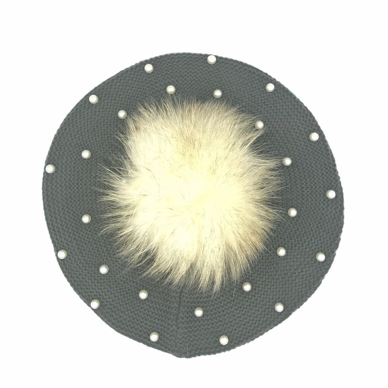 Pearl Beret with Detachable Pom Pom