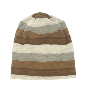 Winter Beige Stripe Hat