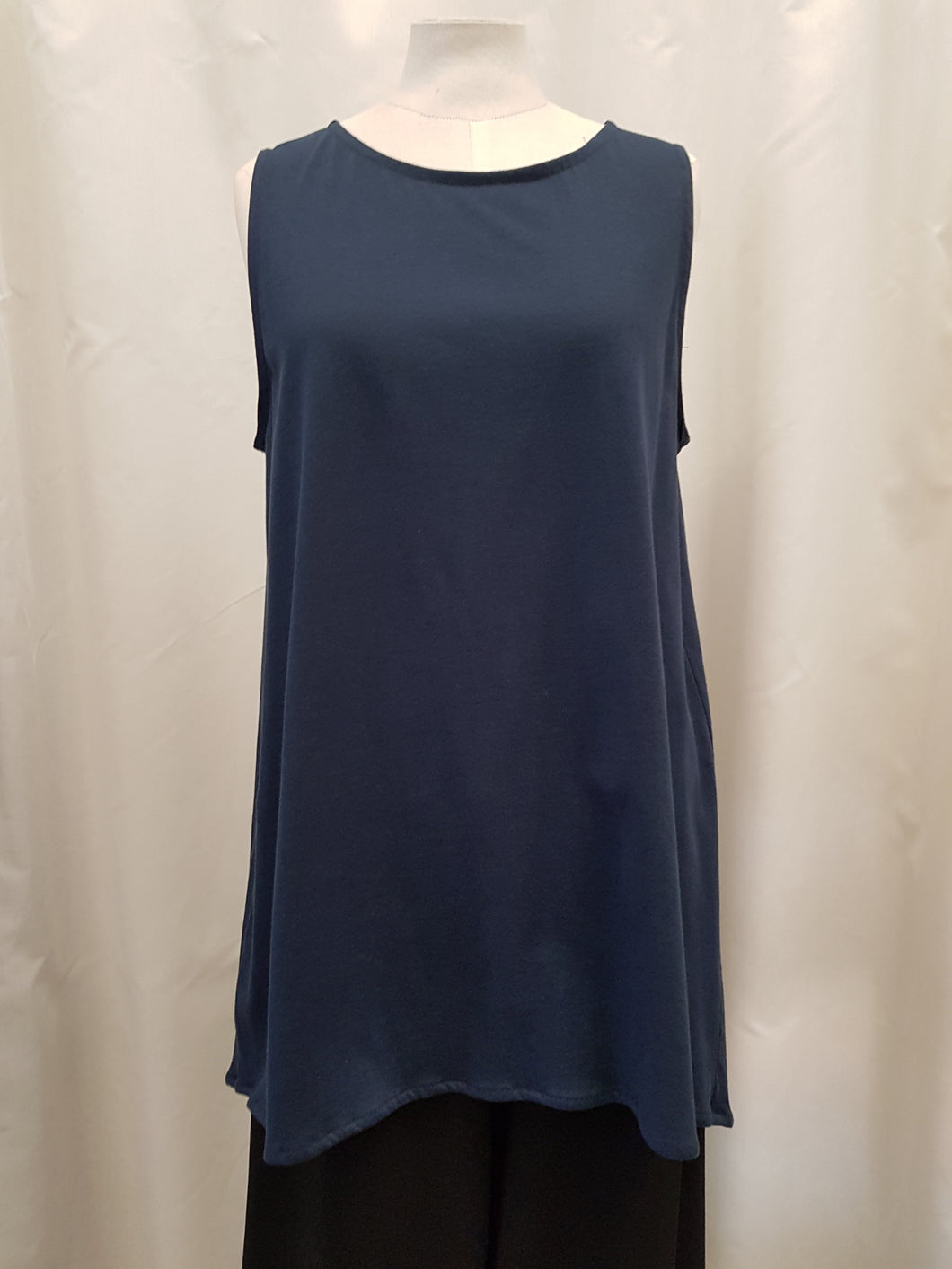 Sea Blue Organic Cotton High Neck Top