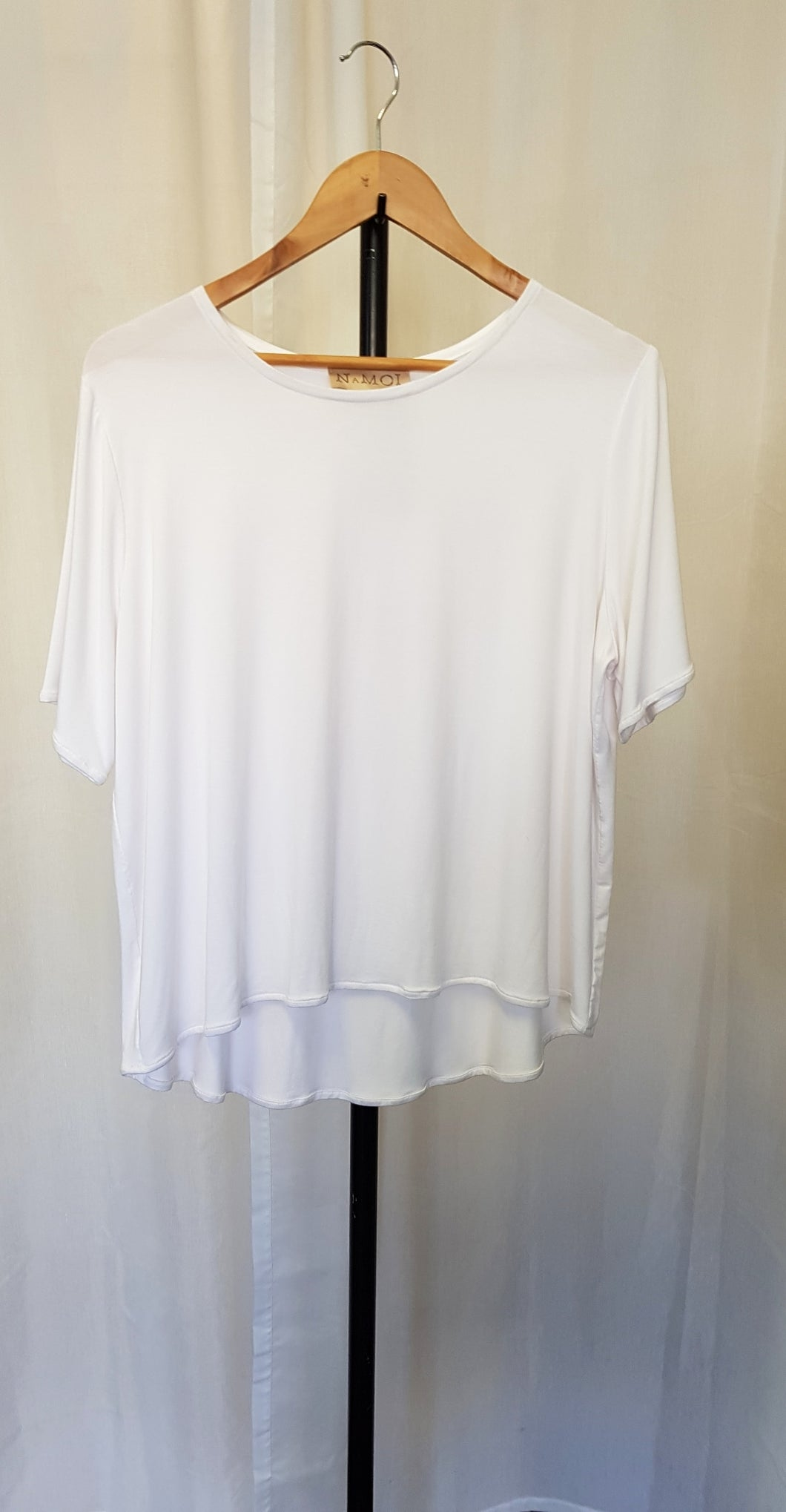 SALE White Jersey Cap Sleeve Shift Top M