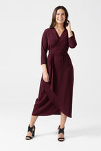 Burgundy Long Wrap Dress