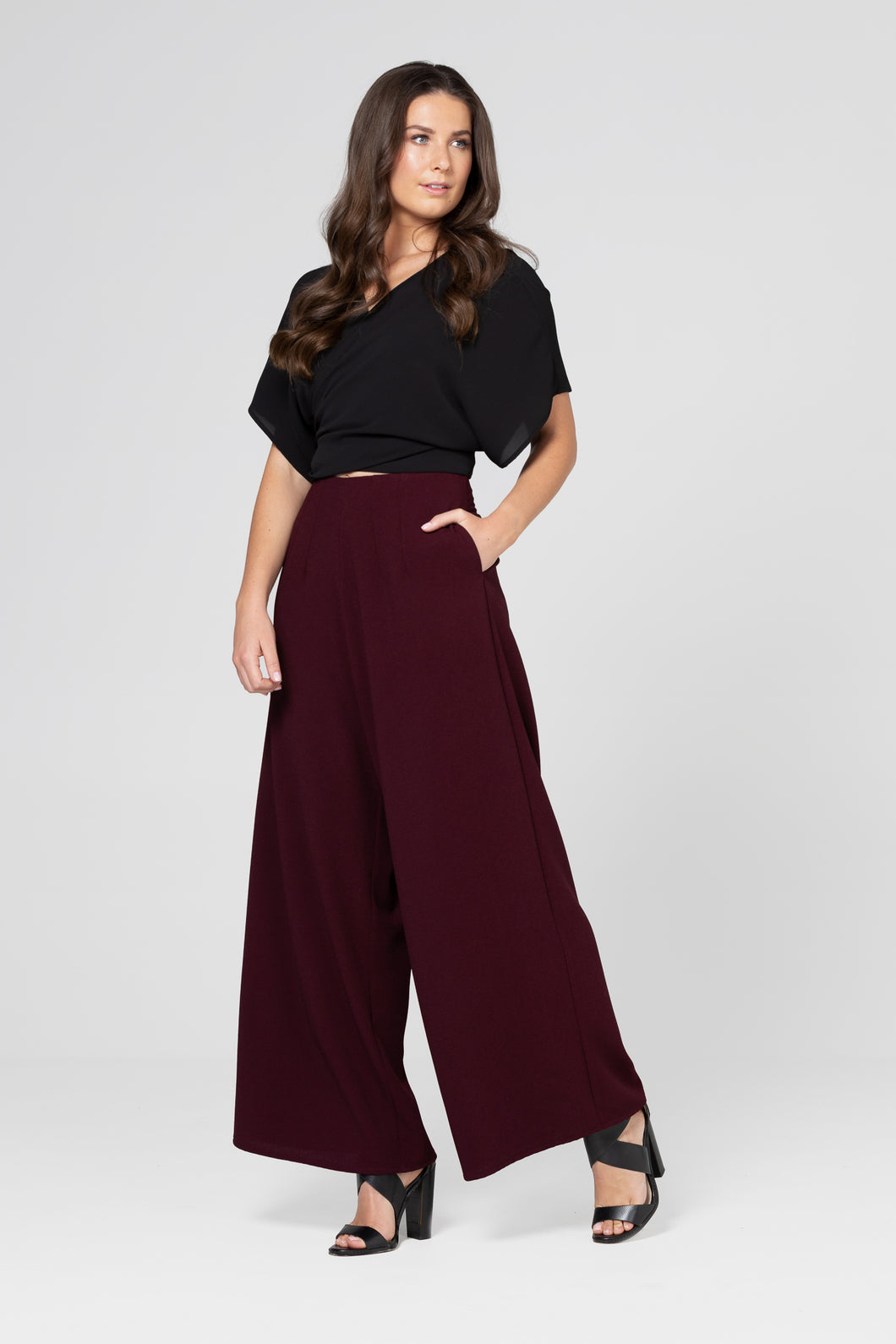 Burgundy Long Crepe Culottes