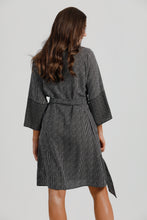 Black & Ivory Shibori Print Wrap Dress