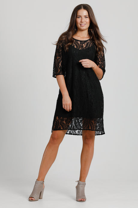 Shift Dress Black Lace