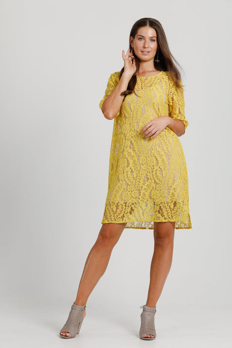 Shift Dress Yellow Lace