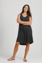 Black & White Stripe Jersey Tank Dress