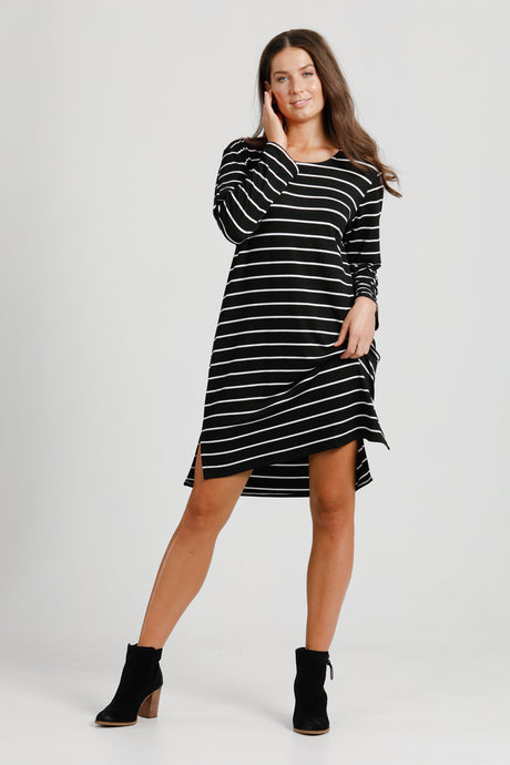 Black & White Stripe Jersey Shift Dress
