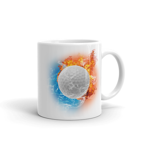 Golf Fire Storm White Glossy Mug