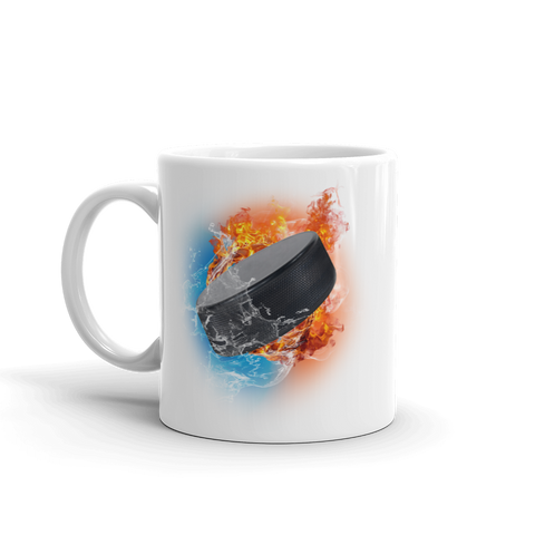 Hockey Puck Fire Storm White Glossy Mug
