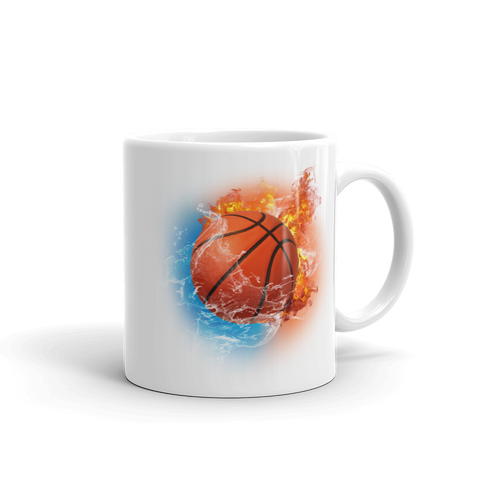 Basketball Fire Storm White Glossy Mug