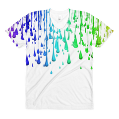 Colorful Paint Dripping Print Covered Sublimation Women's Crew Neck T-Shirt