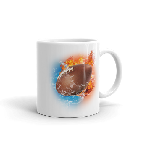 Football Fire Storm White Glossy Mug