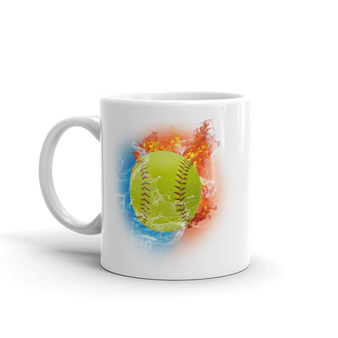 Softball Fire Storm White Glossy Mug