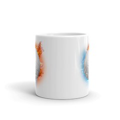 Volleyball Fire Storm White Glossy Mug
