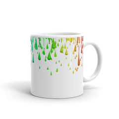 Colorful Paint Dripping Print Covered White Glossy Mug