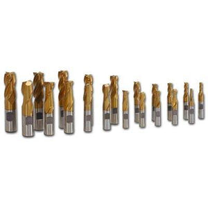 2 & 4 Fluted Tin End Mill 20-Piece Set